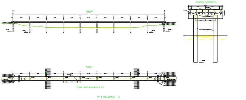 Corrección de hundimiento de puente sobre el río Guadalquivir.