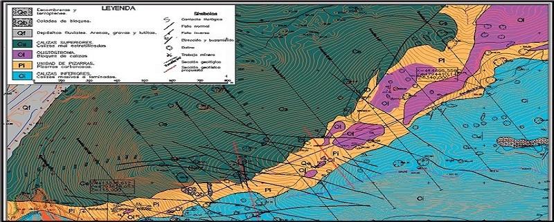 Mapas, secciones y bloques 3D a partir de datos de sondeos y datos geofísicos.