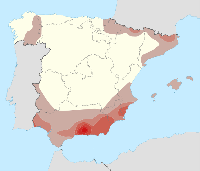Mapa de incidencia sísmica en España