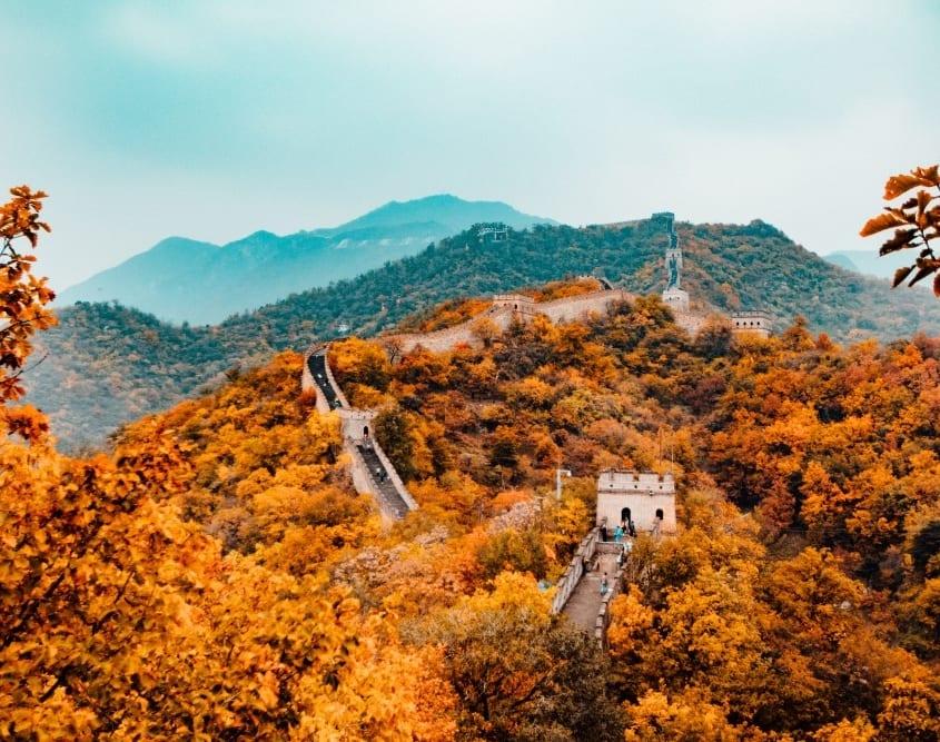 la Gran Muralla China en otoño